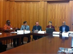 Participants of the Social Media panel: Daudi Were, Joseph Tucker, Gavin Tuffey, Heidi Larson and Nick Perkins (from left to right)